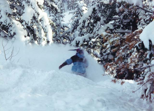 Utah State was a great school to ditch in winter. This shop started here and here's some gear testing at high speed in the Beaver Mt. glades. Notice the multi-kone hat sticking straight back?