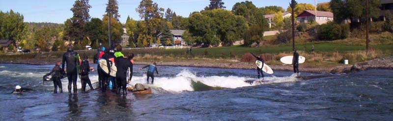 Bend, Oregon Whitewater Park Wave Oct. 8, 2017.  After 26 years since the Lunch Counter wave, boardwarm owner surfs the first Oregon wave he steps in on at the 1st North American Riversurfing Summit conference. Surf for life, dudes!